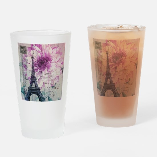 floral paris eiffel tower art Drinking Glass