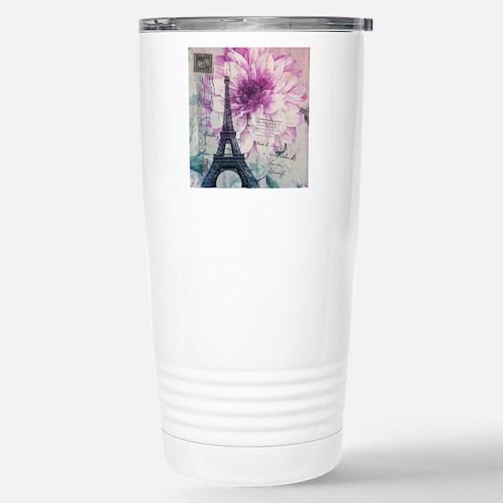 floral paris eiffel tower art Travel Mug