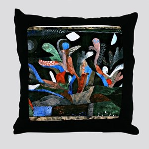 Klee - Picture of a Garden in Dark Co Throw Pillow