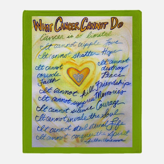 Blue & Gold Heart Cancer Throw Blanket