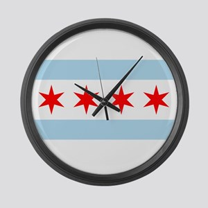 Flag of Chicago Large Wall Clock