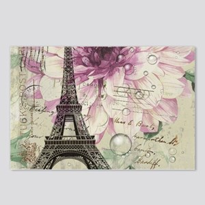 postmark floral paris eiffel tower art Postcards (