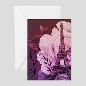 purple floral paris eiffel tower art Greeting Card