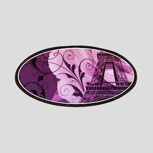purple floral paris eiffel tower art Patches