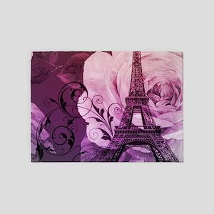 purple floral paris eiffel tower art 5'x7'Area Rug