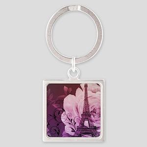 purple floral paris eiffel tower art Keychains