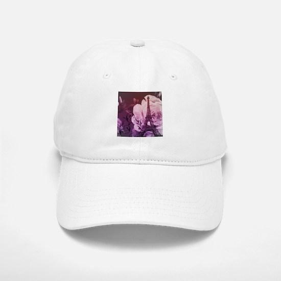 purple floral paris eiffel tower art Hat