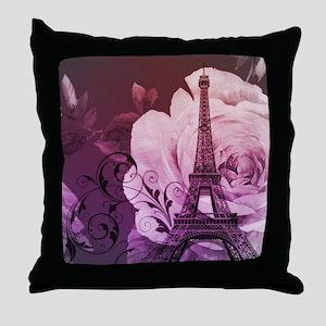 purple floral paris eiffel tower art Throw Pillow
