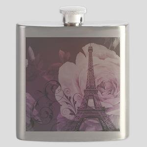 purple floral paris eiffel tower art Flask