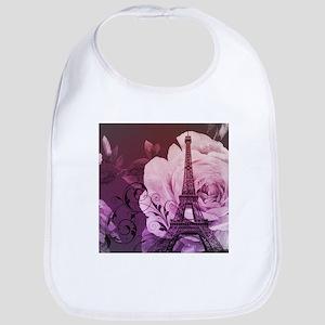 purple floral paris eiffel tower art Bib