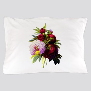 Red and Pink Peonies by Redoute Pillow Case