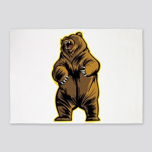 Angry Grizzly Bear 5'x7'Area Rug