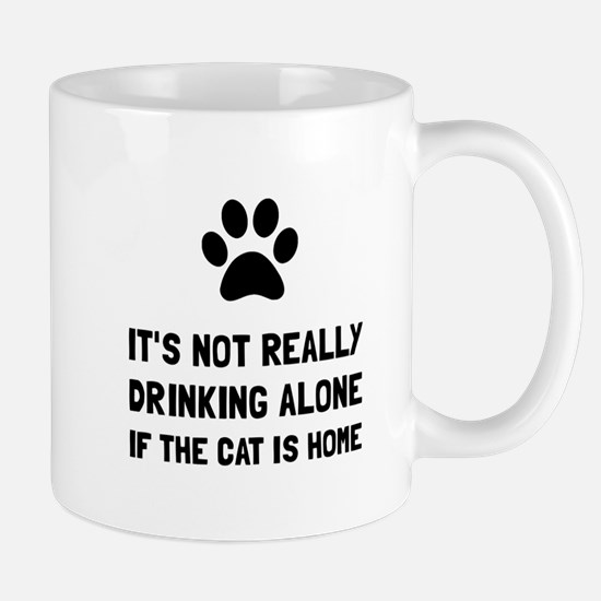 Drinking Alone Cat Mugs