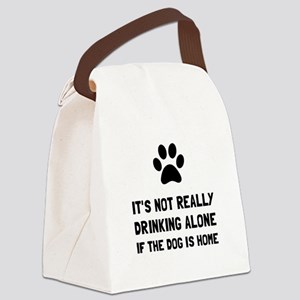 Drinking Alone Dog Canvas Lunch Bag