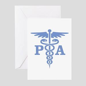 Caduceus PA (blue) Greeting Cards