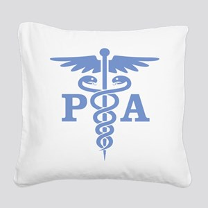 Caduceus PA (blue) Square Canvas Pillow