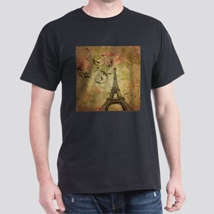 rose floral paris eiffel tower art T-Shirt