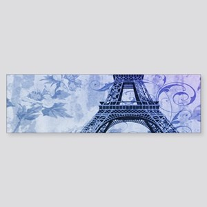 purple floral paris eiffel tower art Bumper Sticke