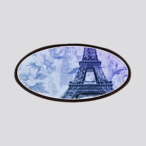 purple floral paris eiffel tower art Patches