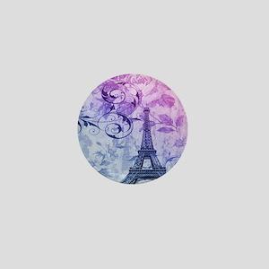 purple floral paris eiffel tower art Mini Button