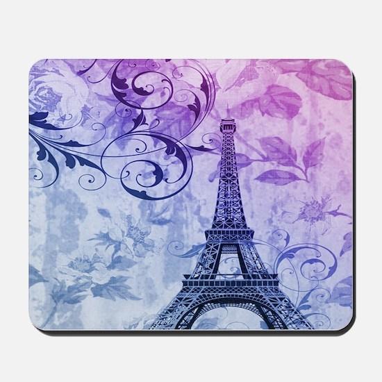 purple floral paris eiffel tower art Mousepad