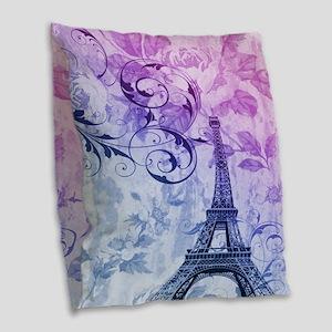 purple floral paris eiffel tower art Burlap Throw