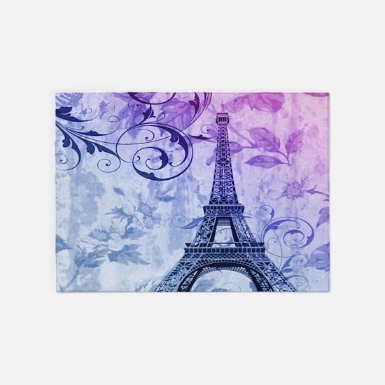Purple Fl Paris Eiffel Tower Art 5 X7 Area Rug
