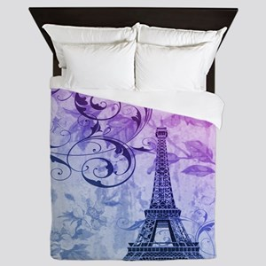 purple floral paris eiffel tower art Queen Duvet