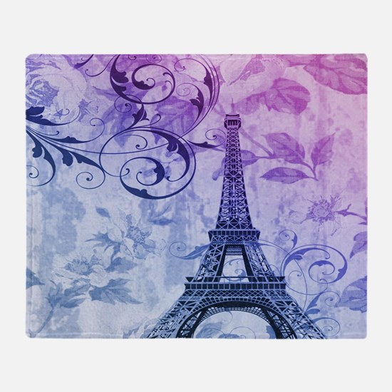purple floral paris eiffel tower art Throw Blanket