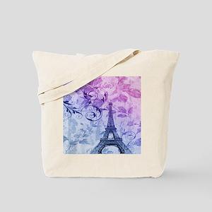 purple floral paris eiffel tower art Tote Bag