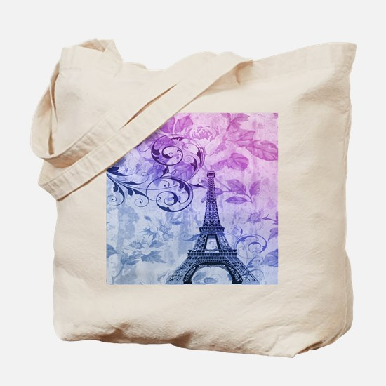 purple floral paris eiffel tower art Tote Bag