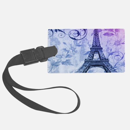 purple floral paris eiffel tower art Large Luggage