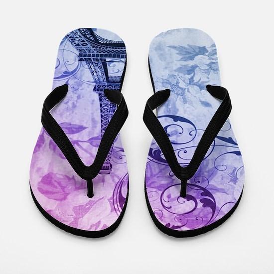 purple floral paris eiffel tower art Flip Flops