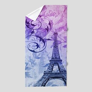 purple floral paris eiffel tower art Beach Towel