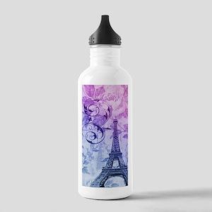 purple floral paris eiffel tower art Water Bottle