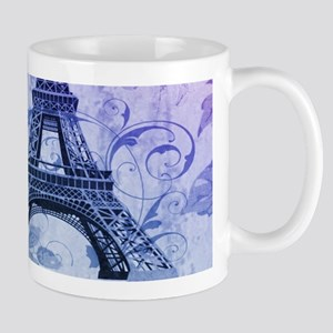 purple floral paris eiffel tower art Mugs