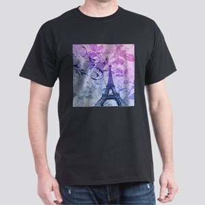 purple floral paris eiffel tower art T-Shirt