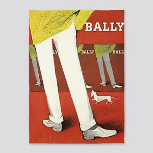 Bally, Shoes, Dog, Vintage Poster 5'x7'area Rug
