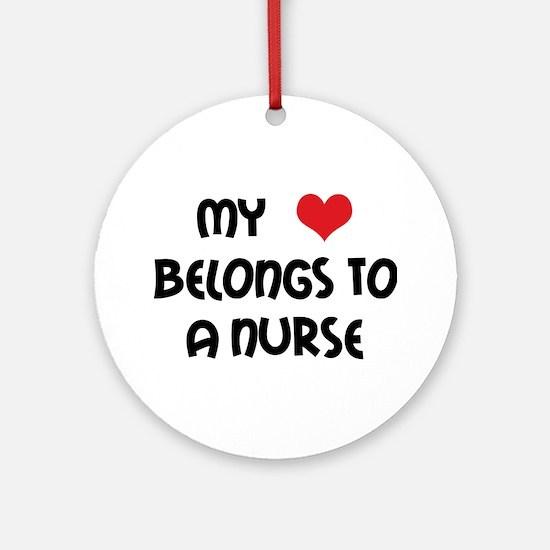 I Heart Nurses Ornament (Round)