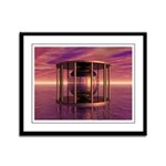 Metal Cage Floating In Water Framed Panel Print