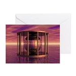 Metal Cage Floating In Water Greeting Cards