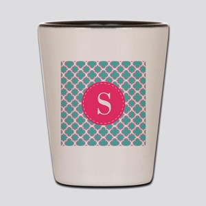 Quatrefoil Pattern Turquoise Blue and P Shot Glass