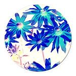 Blue flowers Round Car Magnet
