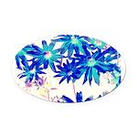 Blue flowers Oval Car Magnet
