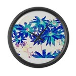 Blue flowers Large Wall Clock