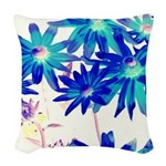 Blue flowers Woven Throw Pillow
