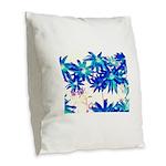 Blue flowers Burlap Throw Pillow