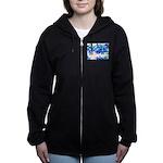 Blue flowers Women's Zip Hoodie