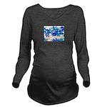 Blue flowers Long Sleeve Maternity T-Shirt