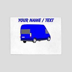 Custom Blue Transporter Van 5'x7'Area Rug